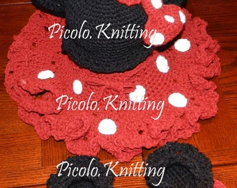 EXCLUSIVE Hand Crochet Toddler Girl Minnie Mouse 4 - pieces Outfit: Cap, tu-tu Skirt, Slippers and Purse  -  Pink or Red - taking orders
