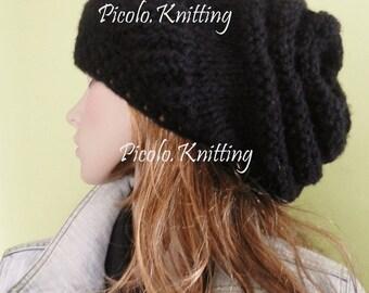 Hand Knit Women/Teen Light Chunky Modern Slouchy Hat,  Big Beanie, Rasta Cap,  Hipster Beanie - hairy BLACK