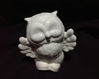 White Stoneware Owl Bank
