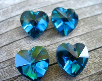 6 Blue Crystal Heart Beads 14mm Heart Briolettes