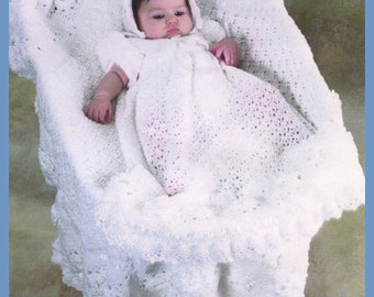 Crochet Kit for Roses In Snow Christening Gown, Bonnet, and Booties - OOP