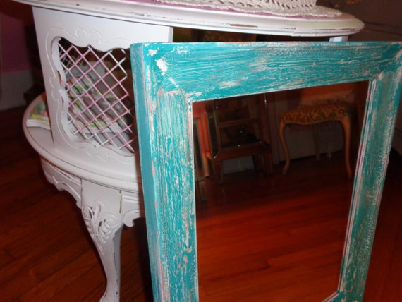 Aqua, white, and off white distressed chippy, shabby chic, Farmhouse, French country large bedroom mirror