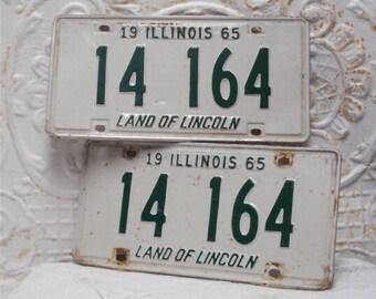 1965 Pair Illinois License Plates 14 164 White Green