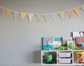 Bright and Bold Fabric Pennant Banner- child's room decor, circus themed birthday party, photo prop in yellow, green, orange, and turquoise