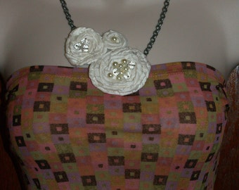 Ivory 100% ShantungSilk Bib Necklace with Flowers and Beading with BronzeToned Chain  *Free Shipping*