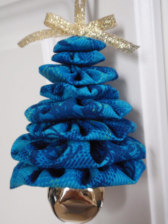 Shades of Blue Plaid Print Jingle Bell Yo Yo Christmas Tree