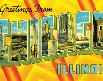 Greetings from Chicago - 10x16 Giclée Canvas Print a of Vintage Postcard