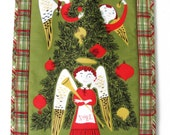 SALE 50% OFF--Quilted Angels Christmas Wall Hanging