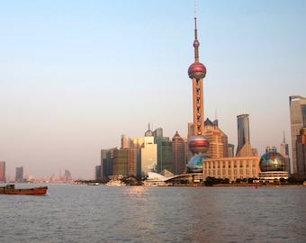 Shanghai skyline photo, Shanghai canvas, Shanghai print, China photography, China skyline, China canvas, China print