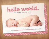 custom photo birth announcement - hello world