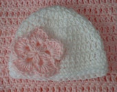 Baby Girl White and Pink Flower Hat