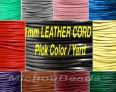 1mm Round Indian LEATHER Cord - Lead Free Natural Regular / Distressed Leather by the Yard Wholesale - Pick COLOR / LENGTH - Usa Seller