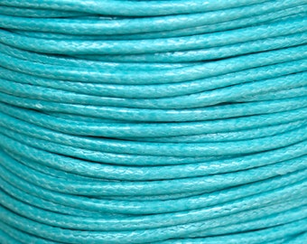 3 Yards - 1mm AQUA Blue  KOREA Waxed Cotton Cord - 9 Feet Round Cotton Wax Cord - Cotton Beading Stringing Cord - USA Seller