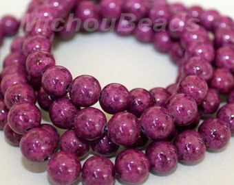 12 Violet PURPLE 8mm Natural RIVERSTONE - Round Opaque River Stone Gemstone Wholesale Bead -  Instant Ship from USA  - 5304