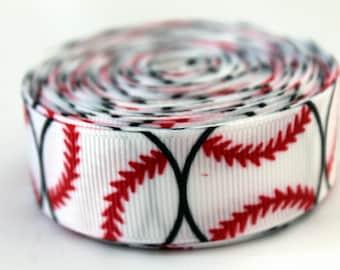 Softball Ribbon Baseball Ribbon Baseball Grosgrain Ribbon White Baseball Ribbon Sports Ribbon Baseball League Ribbon Baseball Grosgrain