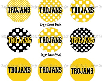 INSTANT DOWNLOAD Black  Gold Trojan Dot  1 inch Circle Bottlecap Images 4x6 sheet