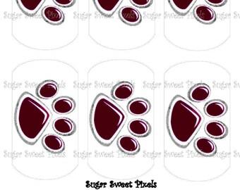 INSTANT DOWNLOAD Burgandy maroon  Paw Print Digital Dog Tag Images 4x6 sheet