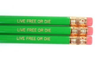 live free or die  engraved pencil set three 3 green pencils.