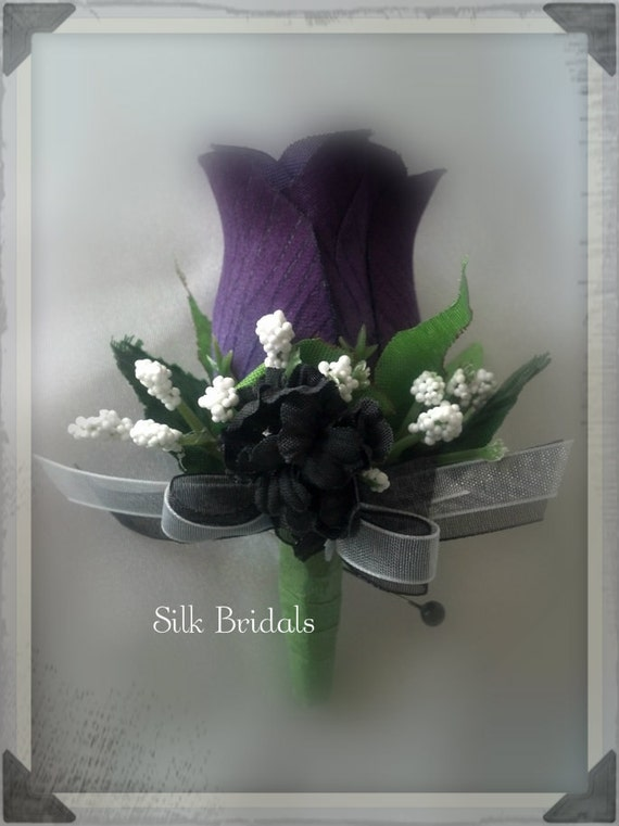 Purple Plum Boutonniere Rose Groom Groomsman Bridal Silk
