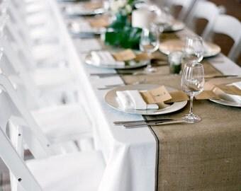 Custom Designed, Patterned & Sewn Burlap Table Runner