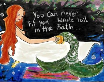 Mermaid having issues- Art print gift card
