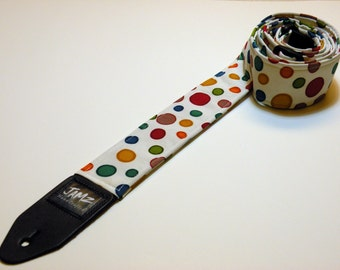 Handmade double padded multi-colored polka dot guitar strap - Dippin' Dots