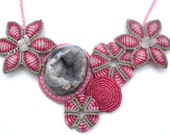 Macrame Statement Necklace with Natural Quartz - One of a kind