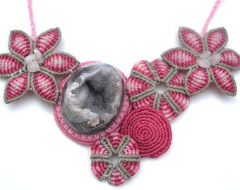 Macrame Statement Flower Necklace with Natural Quartz - One of a kind