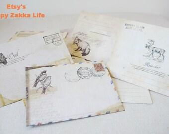 Mini Envelope - Ancien Envelope Set - Vintage Stytle - 12 Sheets in different prints