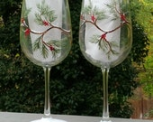Holiday pine branches and berries hand painted wine glasses