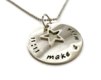 11:11 make a wish necklace with star charm hand stamped wish necklace by Moonstone Creations