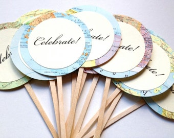 Celebrate, Map Cupcake Toppers, Round Circles, CUSTOM, Set of 25, Vintage Map Wedding, Map Decorations, Travel Theme, Destination Wedding