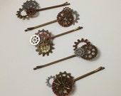 1 Pair Steampunk Gears Bobby Pins