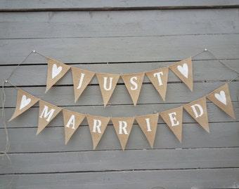 Just married burlap banner Wedding Garland
