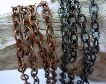 Oxidized COPPER Chain, 6mm OVAL CABLE, Bulk Chain, 6 to 60 Inches