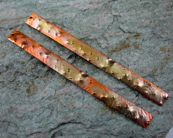 """2 COPPER PLANKS 3"""" x 1/4"""" Moonscape Texture, Choice of Patina"""