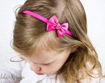 Azalea Pink Small Baby Bow - Azalea Tiny Like a Butterfly Satin Bow Baby Handmade Headband - Infant to Adult Headband