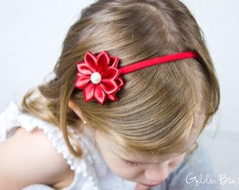 Red Baby Headband - 16 Petals Red Satin Flower Handmade Headband - Infant to Adult Headband