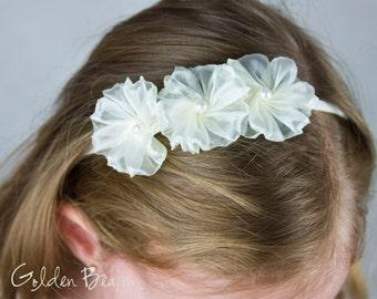 Ivory Flower Girl Headband - 3 Ivory Organza Flowers Handmade Headband - Baby to Adult Headband