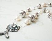 Vintage Aqua Clear Rhinestone Brooch Pearl Crystal Necklace - Vintage Silver Aqua Rhinestone Brooch Pearl Necklace-Aqua Brooch Necklace-
