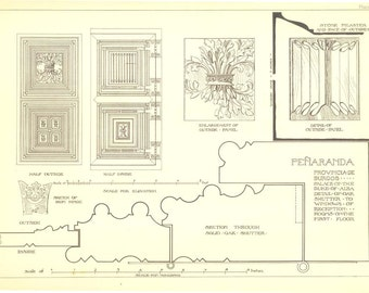 Antique Print Technical Drawing Carpentry  Spanish Renaissance Architecture Andrew N Prentice
