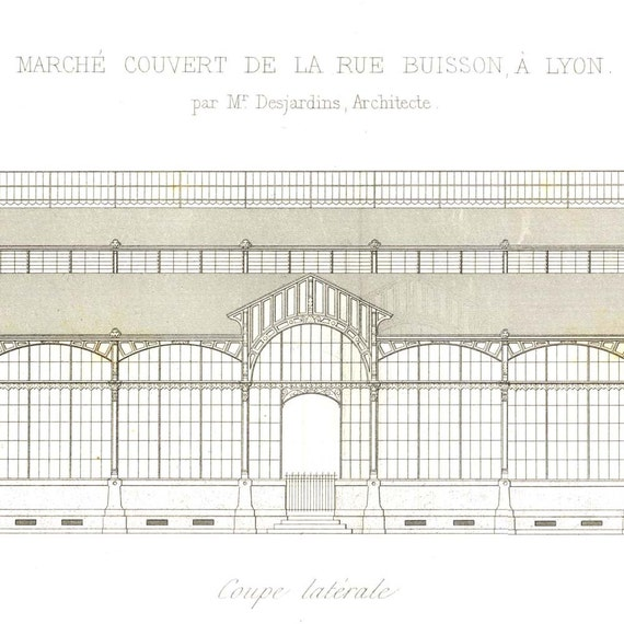 Architectural Drawing French Market, Lyon, 1864