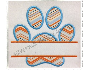 Split Paw Print Applique Machine Embroidery Design (Straight Version) - 4 Sizes