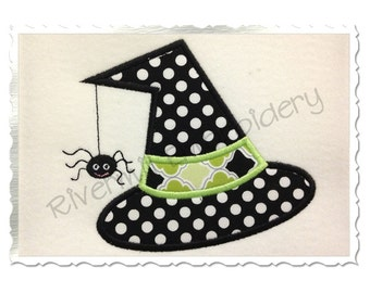 Applique Witch Hat With A Spider Machine Embroidery Design - 4 Sizes