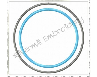 Double Circle Monogram or Initial Frame Machine Embroidery Design - 7 Sizes