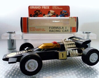 Vintage 1970's Lucky Toys John Player Formula 1 Grand Prix Plastic Friction Toy Race Car.  No. 3148.  Made In HK. In Original Box.
