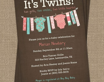 Twin Girl Onesie Baby shower Invitation, Girl Twins, Printable file