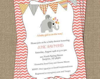 elephant baby girl shower invitation, pink coral and orange bunting, shower invitations, digital, printable file