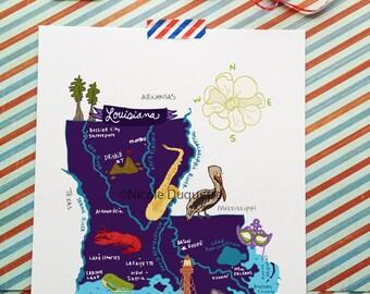 "Louisiana Illustrated 8""x10"" Map"