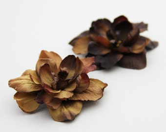Chocolate Flower - Pick Your Color - - Hair Clip - - ONE PIECE  -----  Sienna Chocolate Brown Tan Neutral Flower Hair Clip
